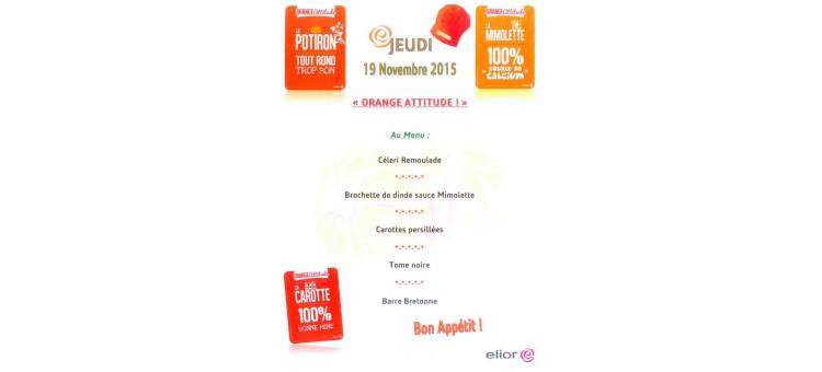 """""""orange attitude"""" à la cantine le jeudi 19 novembre 2015"""