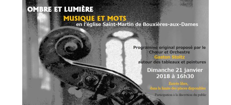 Concert Ombre et Lumière le 21 janvier 2018 à l'église Saint-Martin